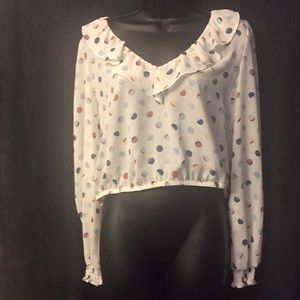 June & Hudson Cream Colored Blouse W/ Polka Dots M